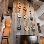Reclaimed wood wall paneling accent wall