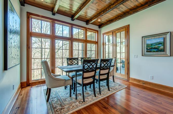 Dining Room Wood Flooring Custom Wood Windows Pine Beams Wood ceiling