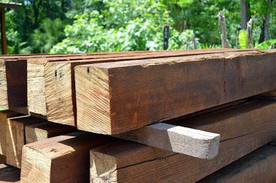 reclaimed old pine beams