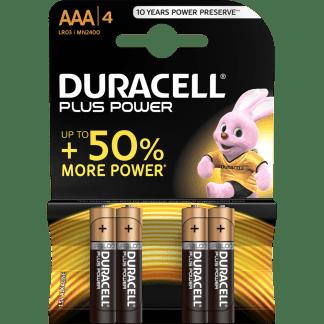 Batterie Mini Stilo AAA Alcaline LR03 Duracell Plus Power 4pz