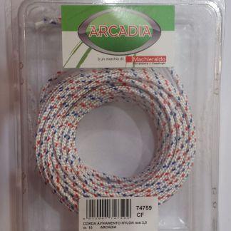 Corda Avviamento Nylon 3,5 mm 10 m Bianca con fili Blu e Rossi
