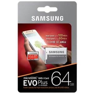 Samsung Scheda MicroSD da 64 GB Adattatore SD Incluso MB-MC64GA/EU EVO Plus