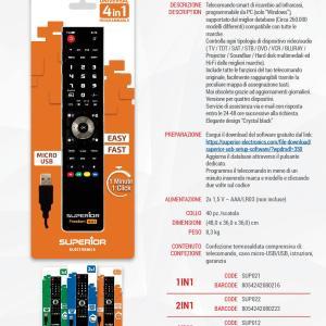Telecomando Universale 4 in 1 Programmabile con cavo USB per TV - DVD - Decoder - AUX