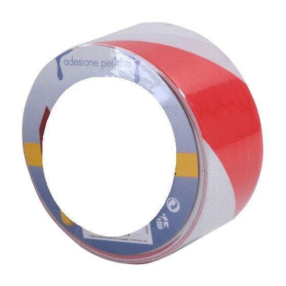 Nastro Segnaletico adesivo in Rosso Bianco mm 50x33mt