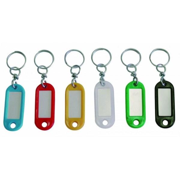 Portachiavi con etichetta e anello girevole colorati 10 pz.