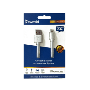 Cavo dati e ricarica USB Lightning bianco Certificato MFI da 1 metro