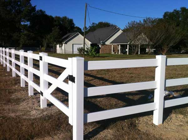 Vinyl 3 Board Paddock Fence with Gate