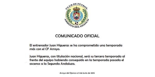 Comunicado Arroyo CF