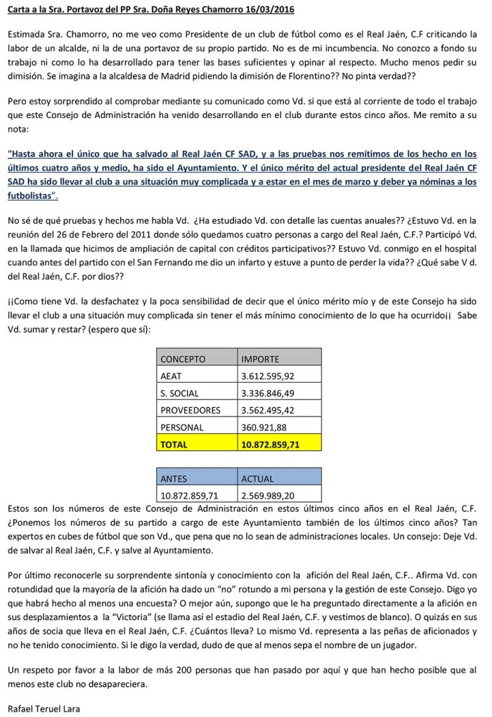 Carta de Teruel a Chamorro