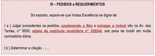 Exemplo de pedido certo e o determinado no novo cpc/2015