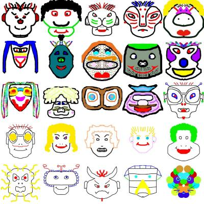 Maschere fatte a scuola colorate