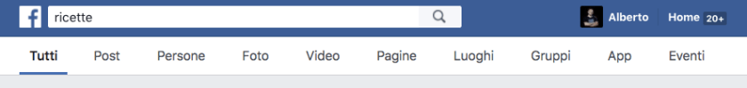 La barra di Facebook come motore di ricerca in italiano