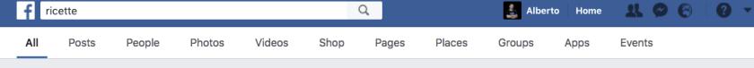 La barra orizzontale del motore di ricerca su Facebook