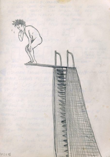 a drawing of a man on top of a springboard