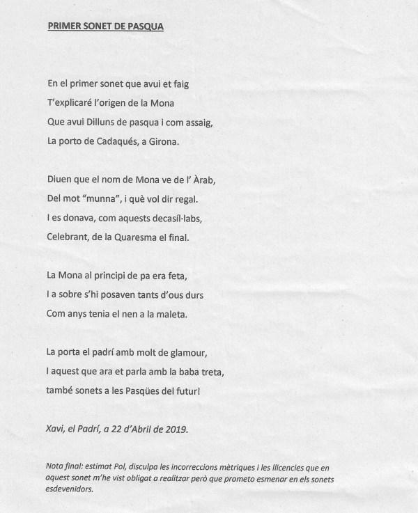 El primer soneto de Pascua de Pol