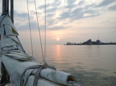 Early morning on the second day of our 2013 holiday heading down the Medway, off Sheerness