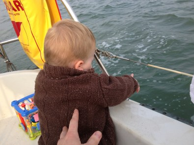 Thomas pointing at waves
