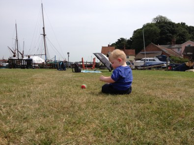 Thomas having his picnic at Pin Mill