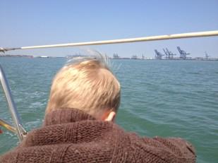 Thomas contemplating a swim
