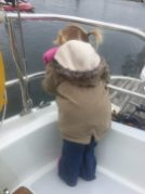 Sophie checking the transom
