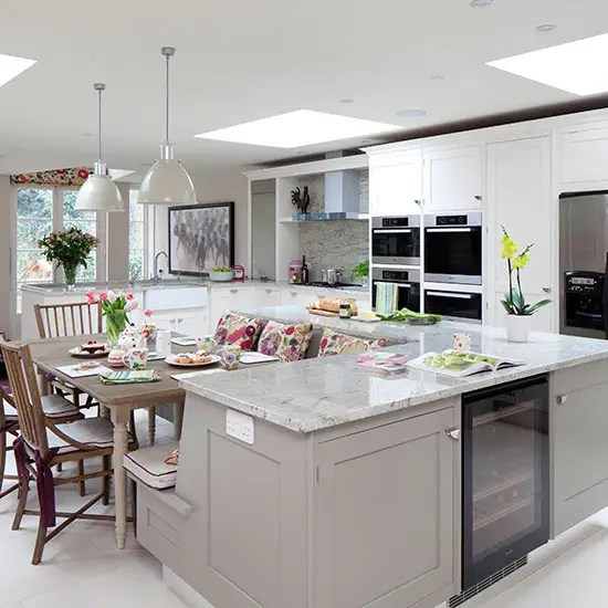 Pale grey and marble effect worktop kitchen with island