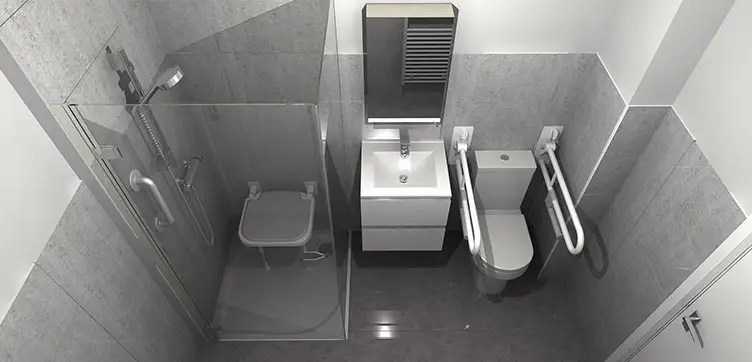 3d plan of easy access wetroom