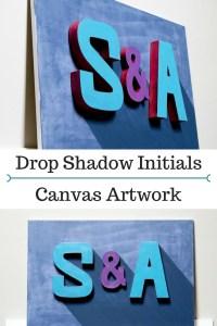 Drop Shadow Initials Canvas Artwork