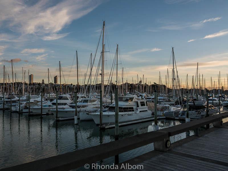 Sunset Over Westhaven Marina And Auckland Harbour Bridge Albom Adventures