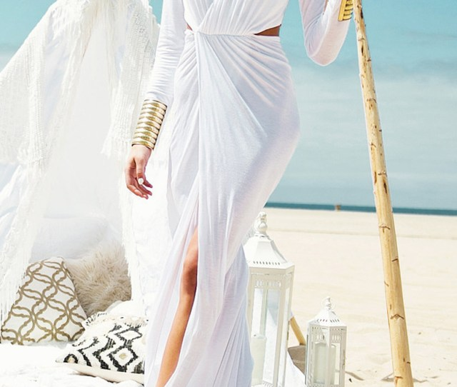 White V Neck Wrap Front Cut Out Detail Split Maxi Dress