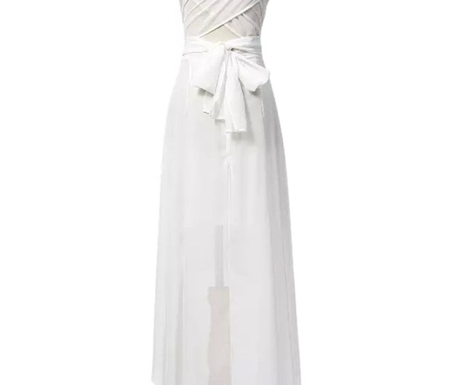 White Multi Wrap Tie Waist Dipped Hem Chiffon Maxi Dress