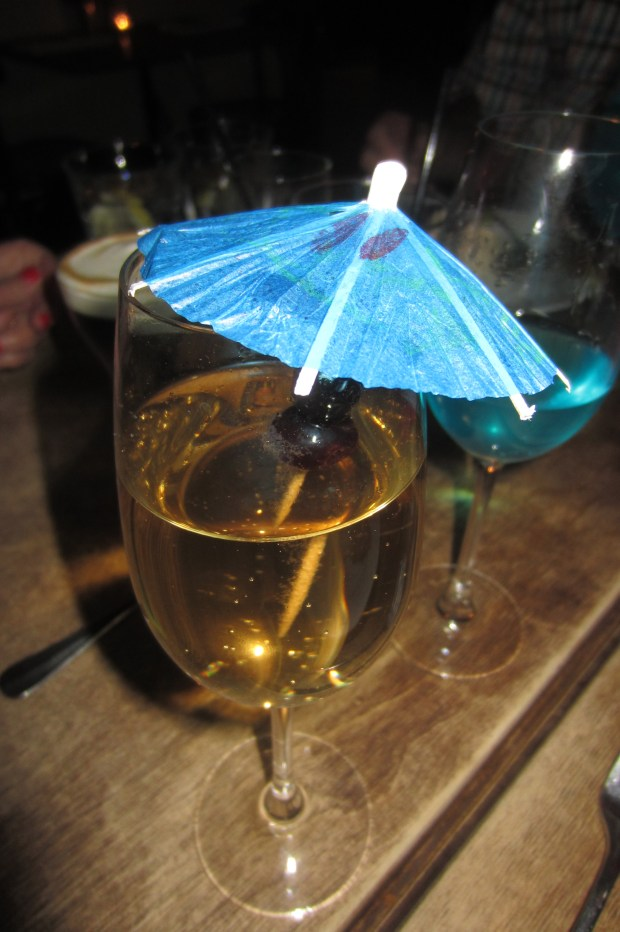 My non-alcoholic drink with blue umbrella (love)!