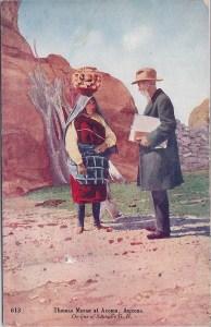 Postcard of Acoma Olla Bearer & Painter T. Moran
