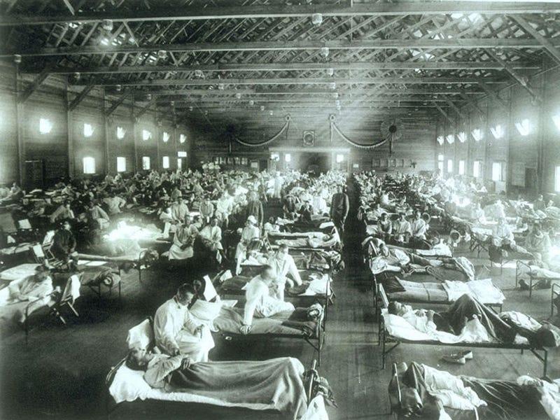 1918 Photo of ill patients at Camp Funston, KS at Camp