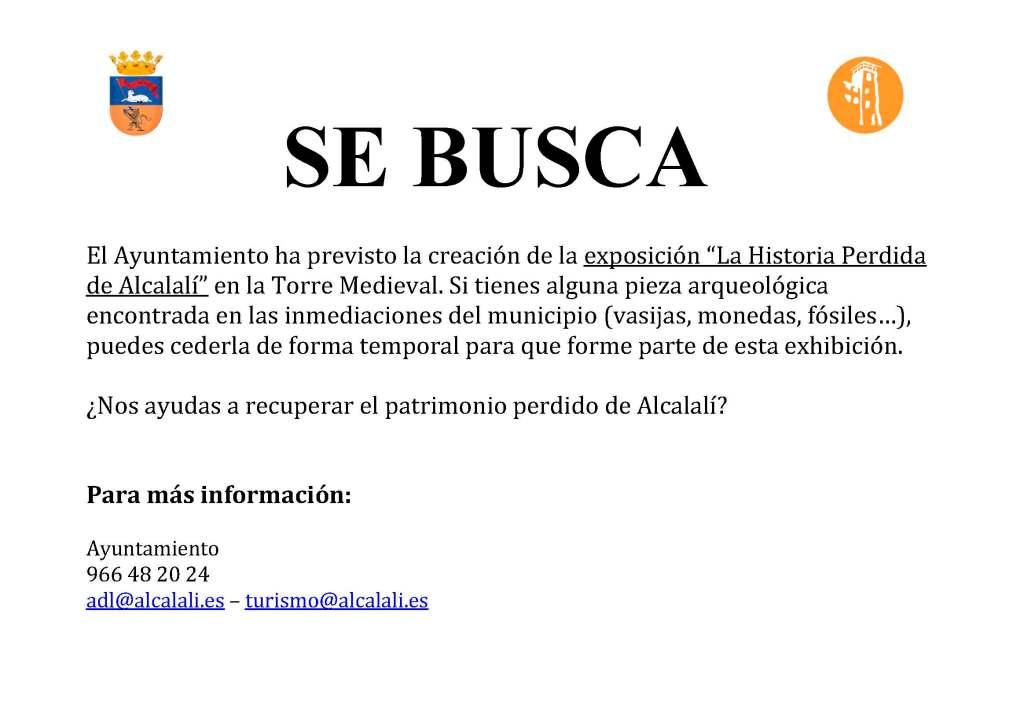 Llamamiento público de la exposición La Historia Perdida de Alcalalí - Alcalalí Turismo