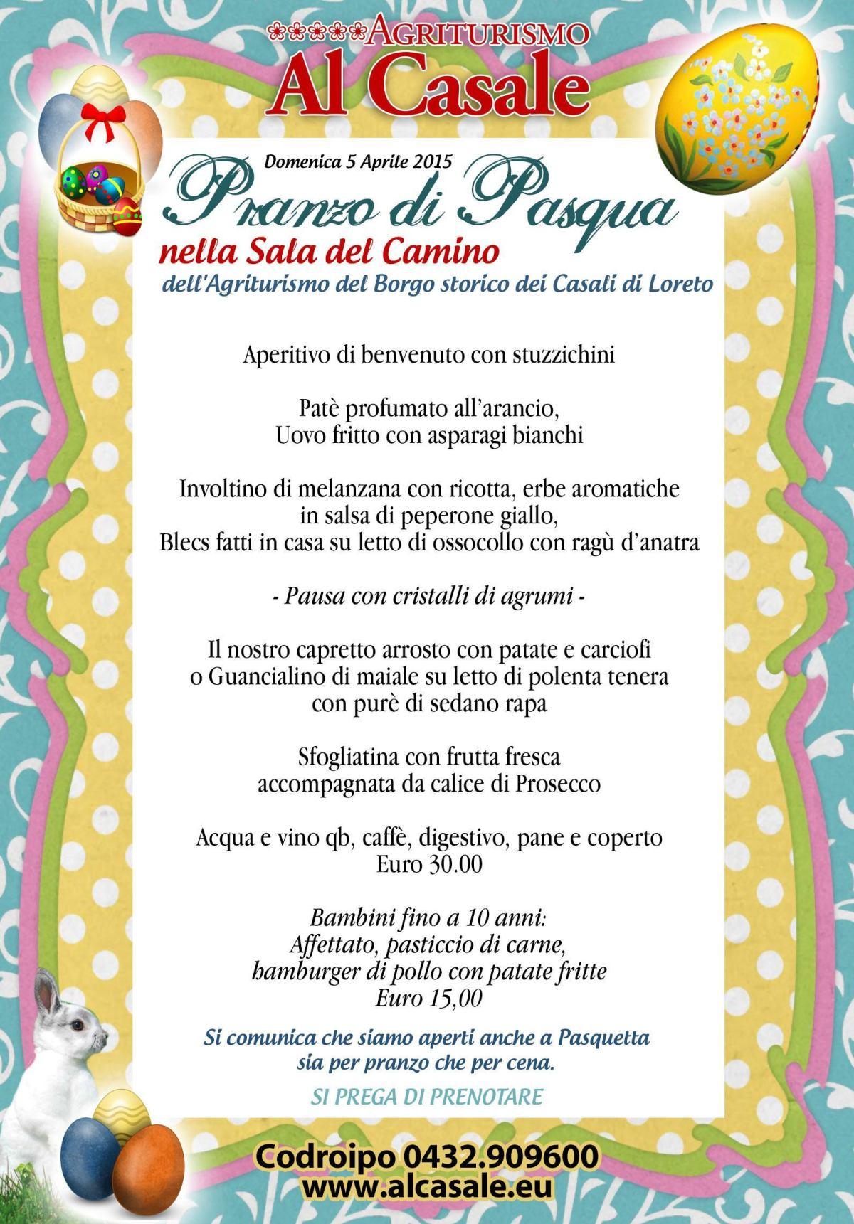 MenuPasquaCodroipo2015 1200x1721 Pranzo di pasqua  agriturismo Al Casale Codroipo