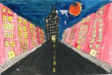 """Third Place, Fifth Grade<br> Zada Melton<br> Castlen Elementary<br> Lisa Wood<br> """"My drawing takes place on a regular street that leads straight to my dream skyscraper. My skyscraper is based off of a mix of a spider and a cat."""""""