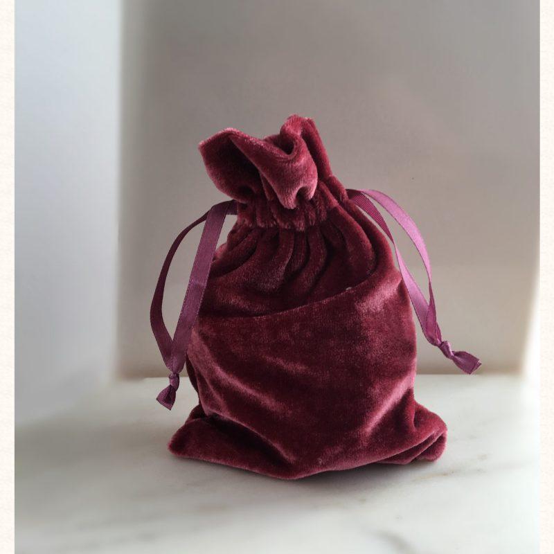 Rose velvet pouch