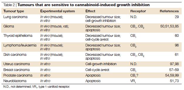 Les cannabinoïdes sont efficaces contre un certain nombre de tumeurs