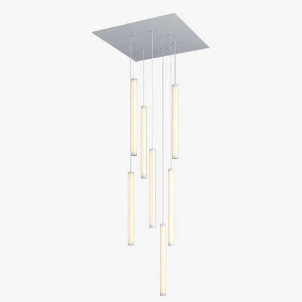alcon lighting 12168 7 cosma 7 light cluster architectural led long cylinder vertical tube commercial pendant light fixture