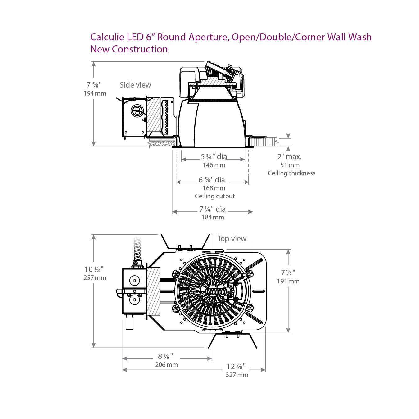 Lightolier C6l30n Calculite Led 6 Round Aperture Open