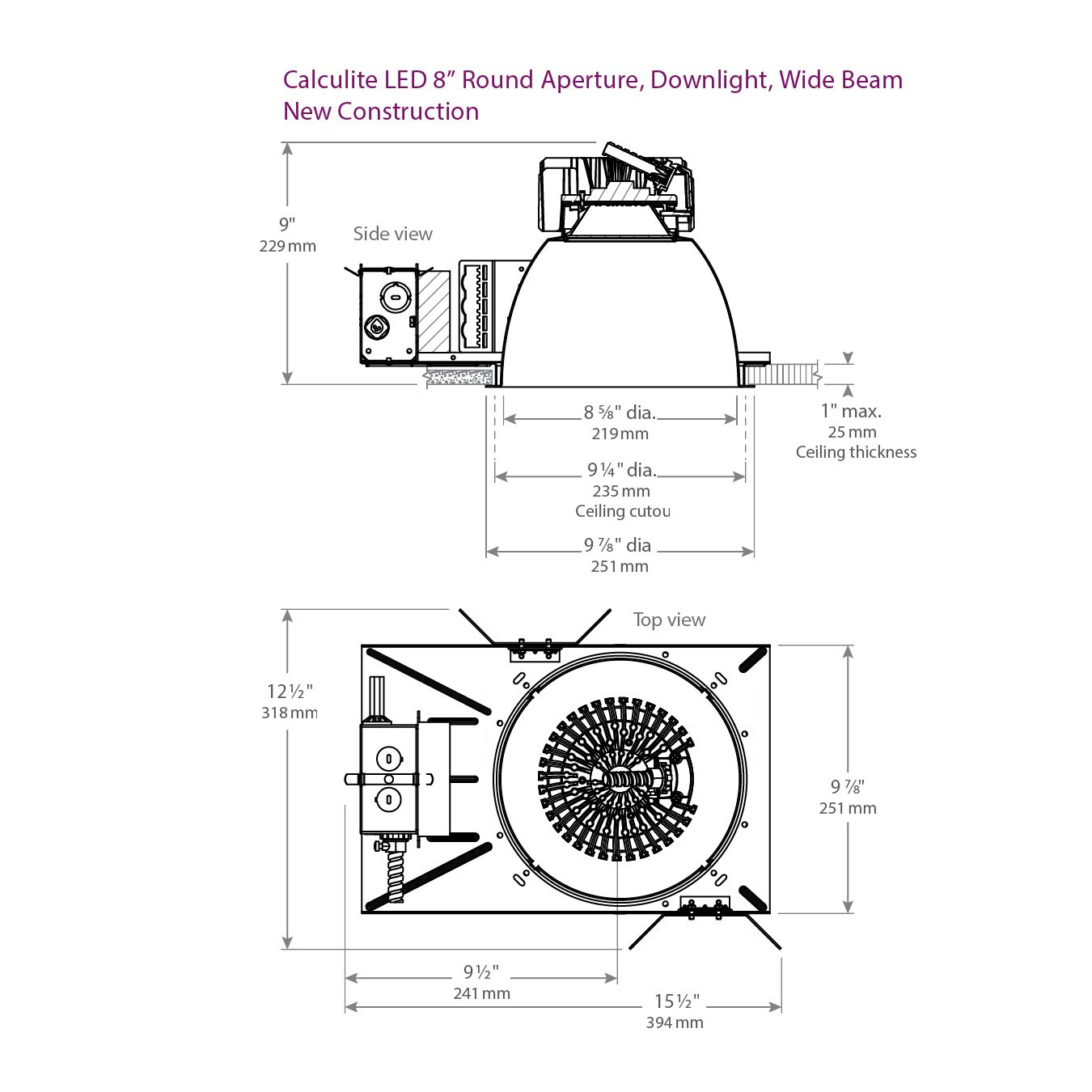 Lightolier C8l35n Calculite Led 8 Round Aperture Wide
