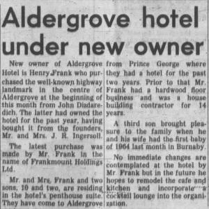 Aldergrove Hotel New Owner