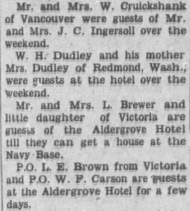 Hotel Guests April 1950