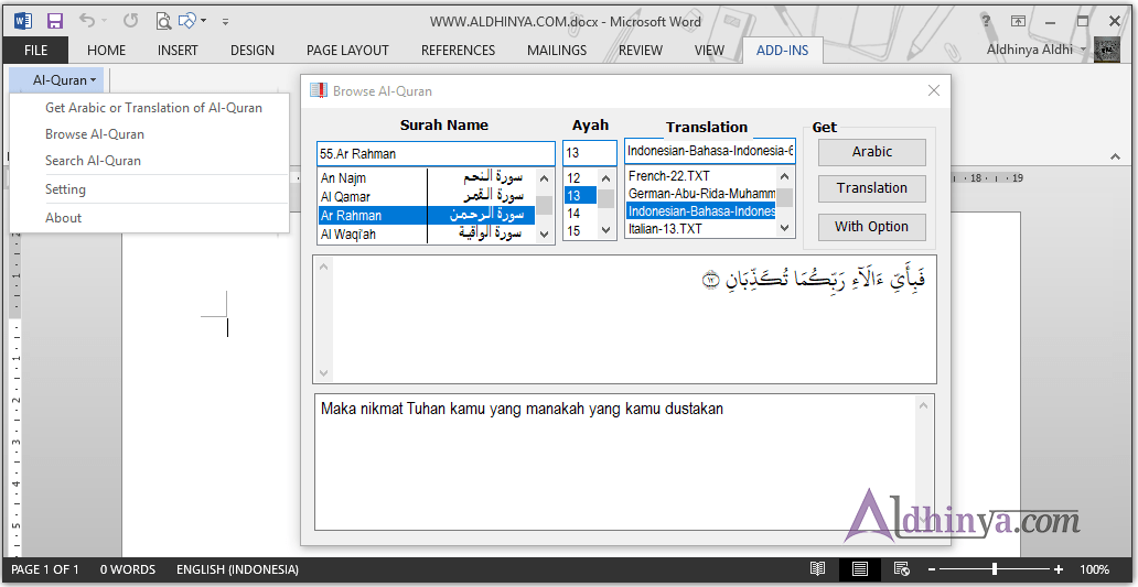 Download Quran in Ms Word Support 2013 dan 2016 Terbaru