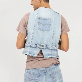 Gilet marina c/apll. jeans uomo/donna (retro)
