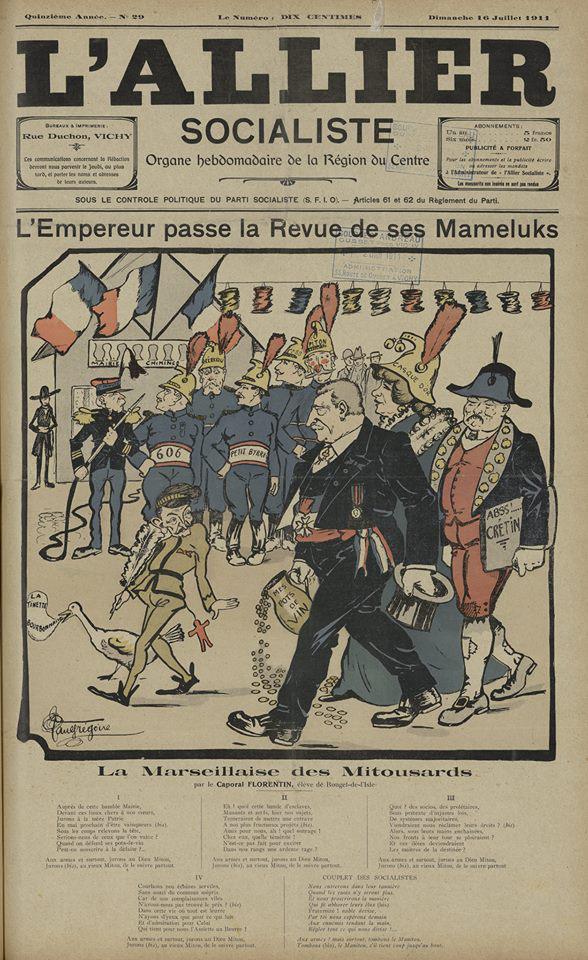 """Dessin de Paul Grégoire paru dans """"L'Allier socialiste"""" le 16 juillet 1911 (coll. Médiathèque V. Larbaud)"""