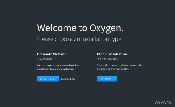 WordPress Oxygen Builder Welcome Screen
