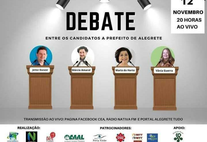 Primeiro e único debate dos candidatos à Prefeitura de Alegrete será nesta quinta-feira