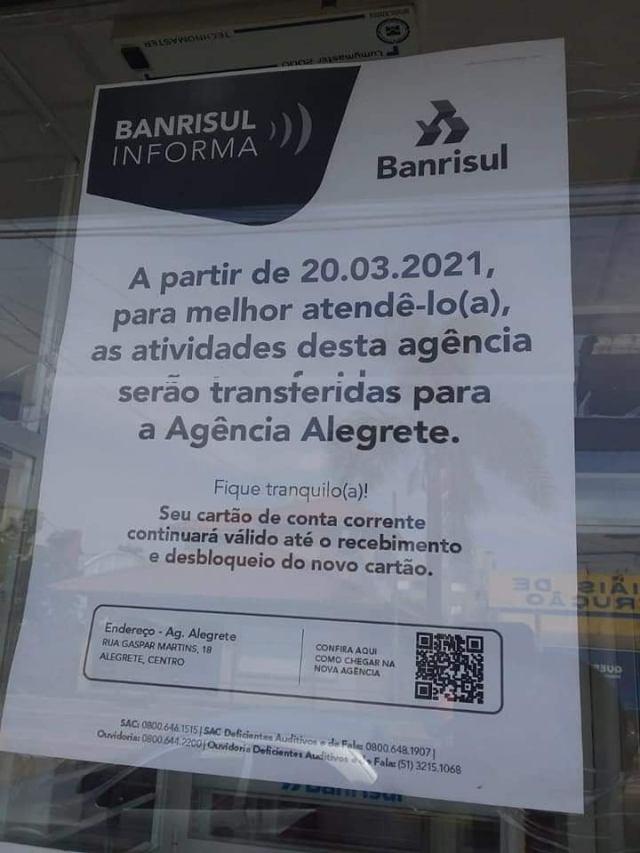 Banrisul foi indiferente aos apelos e fechou agência da Cidade Alta - Alegrete Tudo