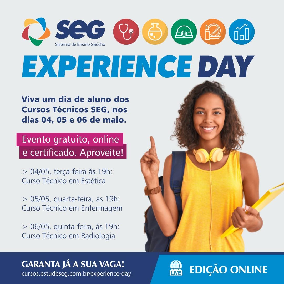Faça uma experiência gratuita online do curso profissional de sua preferência; é o Experience Day do SEG